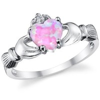 Amazon.com: Stelring Silver 925 Irish Claddagh Friendship &amp; Love Ring with a Pink Opal Heart Sizes 4 to 10: Jewelry