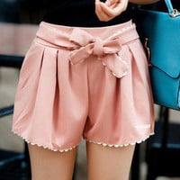 Bow belt Beach Skirt Shorts [197]