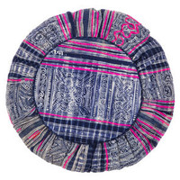 abcDNA indigo print pouf pillow - pink - ABC Carpet & Home
