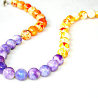 Summer Necklace - EXOTIC Purple Orange Yellow Multi Beaded Gems and Sterling Toggle by Mei Faith