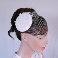 Bridal cocktail hat weddings pillbox hat by WeddingsBridal on Etsy