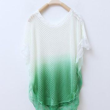 Graduated Color Hollow Batwing Sleeve Sweater