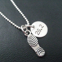 RUN 26.2 Running Shoe - 16 inch Sterling Silver Running Necklace on Sterling Silver Ball chain - Choose Shoe Print or Running Shoe