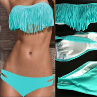 Blue Fashion Tassel Padded Bandeau Bikini Swimsuit