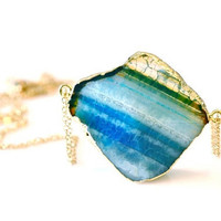 OOAK Faceted Agate Double Chain Necklace -02-