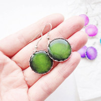 Moss green earrings - Spring Collection