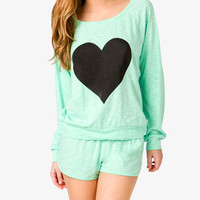 Slub Knit Heart PJ Set | FOREVER 21 - 2021839415