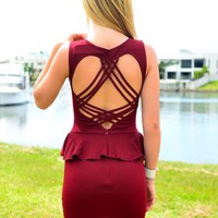 Burgundy Peplum Dress with Heart Strappy Back Detail