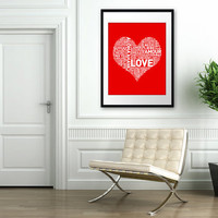 HUGE Archival Poster I Heart Love 16x20 inches by theloveshop