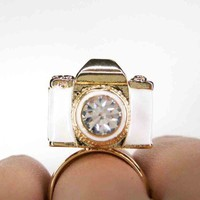 ONE DOLLAR SALE - Adjustable White and Gold Camera Ring