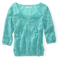 3/4 Sleeve Lace Woven Peasant Top - Aeropostale