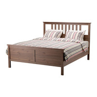 HEMNES Bed frame - gray-brown - Queen - IKEA