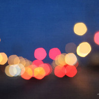 bokeh, blur, lights, night, blue, red, yellow, fine art photography