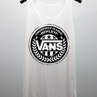 VANS Tank Top White women handmade silk screen printing