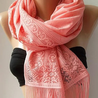 Lace scarf - Elegant scarf - Classy scarf - salmon pink