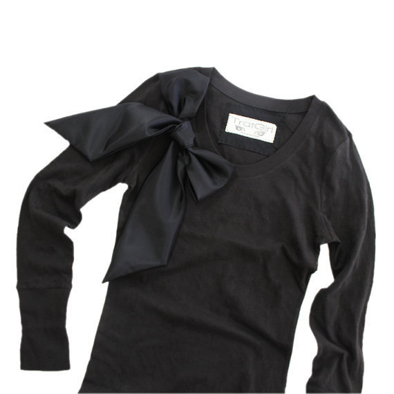 Black Top Long Sleeve Retro Black on Black Bow By by tratgirl55