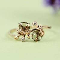 Pink Gold Smoky Quartz White CZ Floral Ring | tooriginal - Jewelry on ArtFire