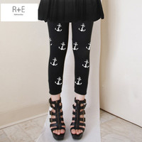 Mini Sailor Boat Anchors Womens Black Leggings Style