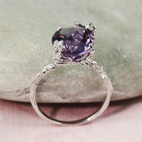 Sterling Silver Oval Amethyst Ring - gemstone ring, handmade ring, sterling silver ring | tooriginal - Jewelry on ArtFire