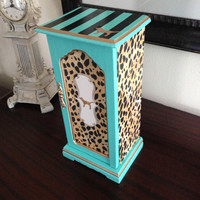Victoria&#x27;s Secret Inspired Vintage Jewelry Box Leopard Aqua