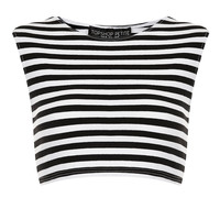 Petite Stripe Stretch Crop Top - Petite - Clothing - Topshop USA