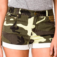 Studded Camo Denim Shorts