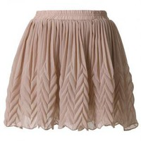 Nude Chiffon Mini Skirt with Zig Zag Arrow Pleat Design
