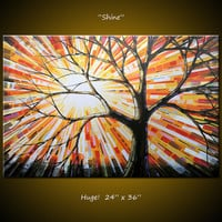 Amy Giacomelli Original Large Abstract Painting Modern Contemporary Trees ... 24 x 36 ... Shine