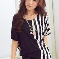 TRENDY ONE SIDE STRIPE LADIES BLOUSE