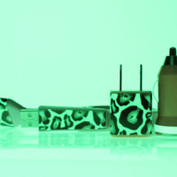 Pink Leopard Glow in the Dark iPhone Charger (cable, wall adapter and car charger included)