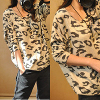 Cheetah Print Loose Knit Think Jumper [103]