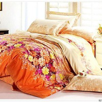 Beige and Orange Bedding Set
