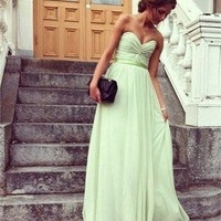 Strapless Sweetheart Sage Mint Green Chiffon Prom Dress Bridesmaid dress