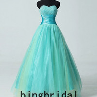 Ball gown Tulle organza satin pleated long prom/Evening/Party/Homecoming/cocktail /Bridesmaid/Formal Dress