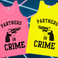 Partners in Crime (Neon Tanks!)- Perfect Best Friend Tanks for Summer- from Lookhuman.com