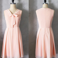 MADELINE - PEACH Blush apricot scarf neck tie dress// retro // vintage inspired // pleated skirt // bridesmaid dress // garden // mod