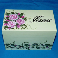 Elegant Wedding Guest Book Alternative Wood Wedding Chest Advice BOX Hand Painted Floral Personalized Custom Keepsake Bridal Shower