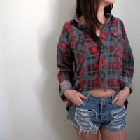 Plaid Womens Flannel Hi Lo High Low Crop Top Cropped Tunic Grunge Button Down Up Red