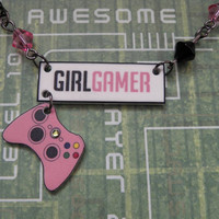 Pink GIRL GAMER Logo and Xbox 360 Controller Bead and by PlayBox