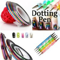 350buy 5 X 2 Way Marbleizing Dotting Pen Set for Nail Art Manicure Pedicure+10 Color Rolls Nail Art Decoration Striping Tape: Beauty
