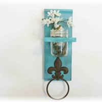Kitchen or Bathroom Wall Shelf with Fleur de lis by ACOUNTRYWAY