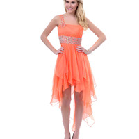 Orange Chiffon Cut Out High Low Prom Dress - Unique Vintage - Prom dresses, retro dresses, retro swimsuits.