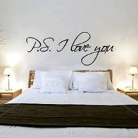 ~Romantic Gift ~ &amp;quot;P.S. I Love You&amp;quot; Vinyl Wall Art Decal Decor Sticker -TIED w/BOW!: Home &amp; Kitchen
