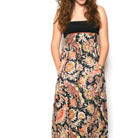 Anne Fogarty Brocade Maxi Skirt Deep Gems