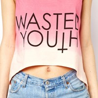 Reverse Wasted Youth Vest Top In Dip Dye