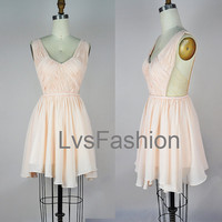 Straps Vneck Sexy Chiffon Party Dresses Cocktail by LvsFashion
