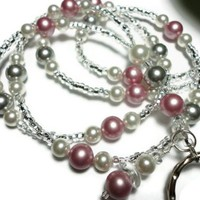 Lanyard Id Badge Necklace Swarovski Pearls Lampwork Rose Pink White