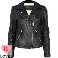 Black leather biker jacket - biker jackets - coats / jackets - women