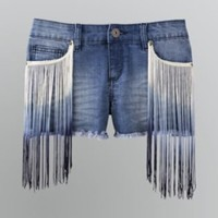 Junior's Fringe-Front Denim Shorts- Bongo-Clothing-Juniors-Shorts & Capris