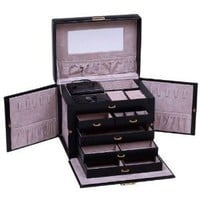 Amazon.com: SHINING IMAGE tea2 HUGE BLACK LEATHER JEWELRY BOX / CASE / STORAGE / ORGANIZER WITH TRAVEL CASE AND LOCK: Jewelry